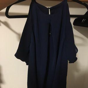 Tops - Off shoulder blue blouse